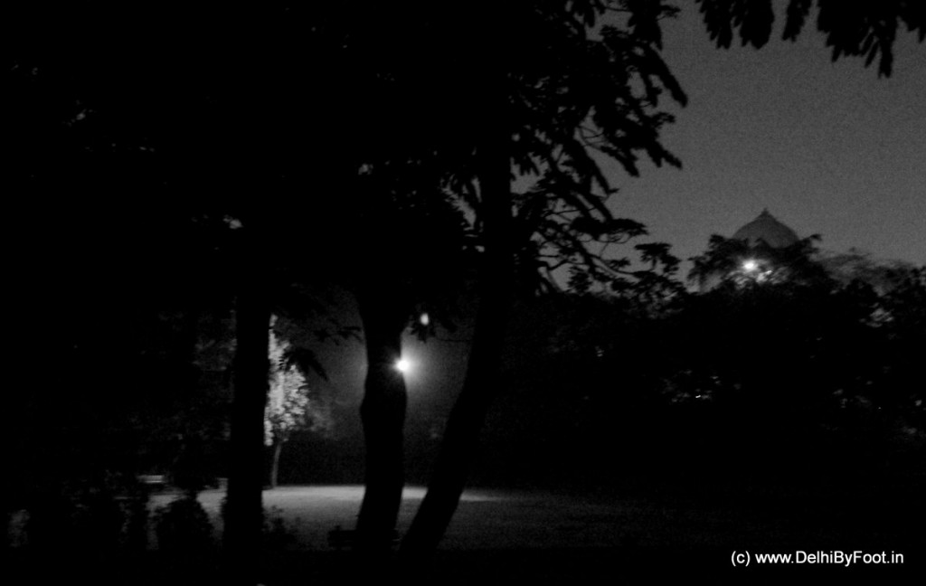 A few lights inside the park provided us those rare moments of respite from the eerie, all-encompassing, still darkness...