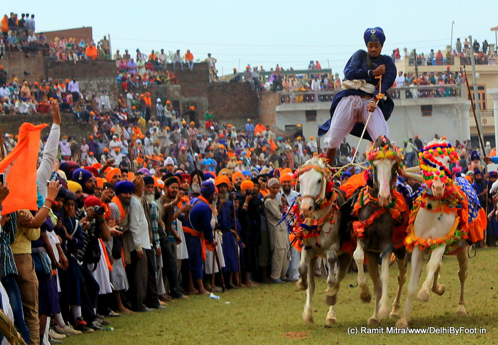 a thrill which is beyond words....when a Nihang rider balances his 2 feet on the backs of 2 horses, whilst they run at top speed...